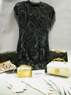 Five Lady's Bags, a Collection of Gloves, and 1980s Leslie Fay Black Sequined Silk   Dress