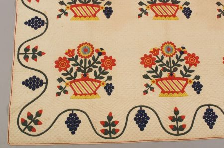 Pieced and Appliqued Cotton Baltimore Flower Basket Pattern Quilt