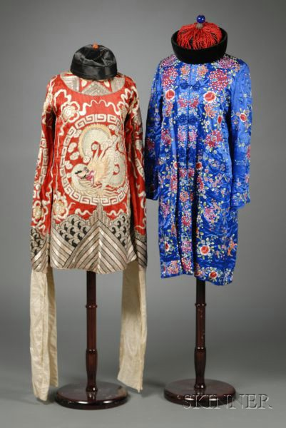 Two Embroidered Chinese Silk Robes, a Tunic, and Two Hats