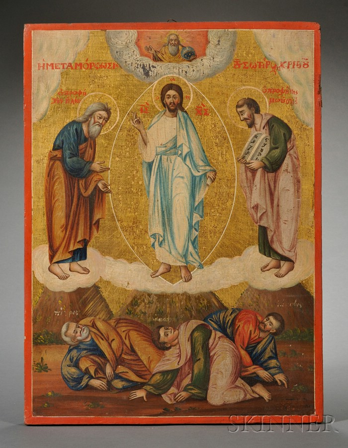 Greek Icon of the Transfiguration of Christ on Mount Tabor