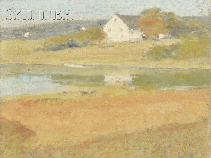 School of Arthur Wesley Dow (American, 1857-1922)      Sunny Landscape with a White Farmhouse
