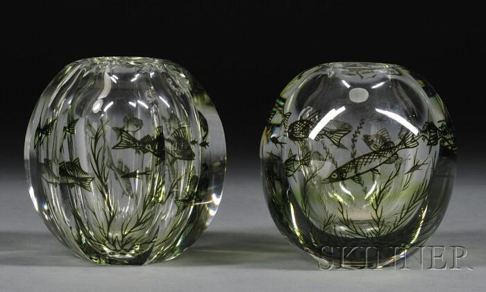 Two Orrefors Graal Vases