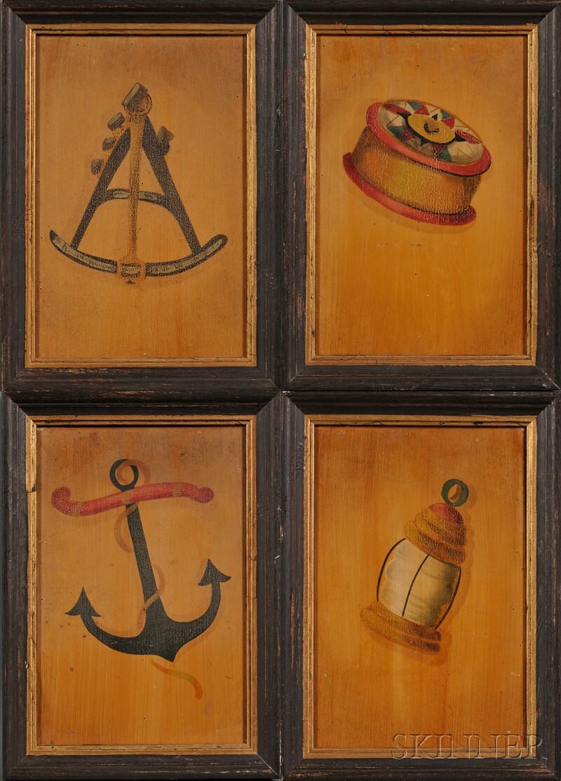 Ralph Eugene Cahoon, Jr. (Cotuit, Massachusetts, 1910-1982)      Lot of Four Works:  Lantern, Sailor's Ditty Box, Anchor