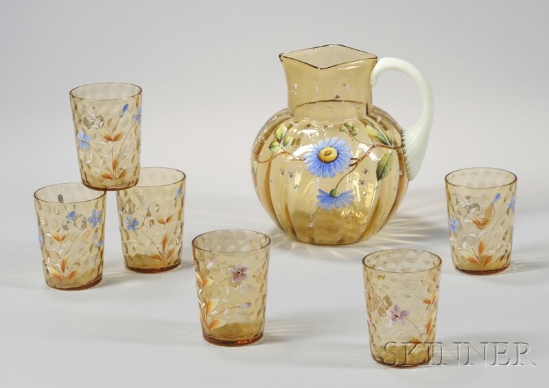 Seven-piece Late Victorian Enamel Floral-decorated Amber Art Glass Beverage Set