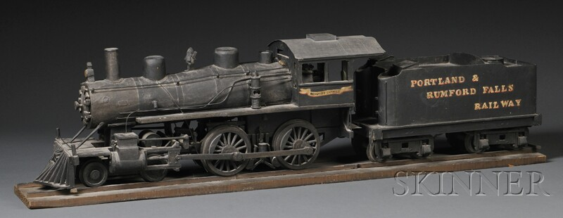 Painted Scratch-built Wooden Model of the Portland & Rumford Falls Railway Locomotiv