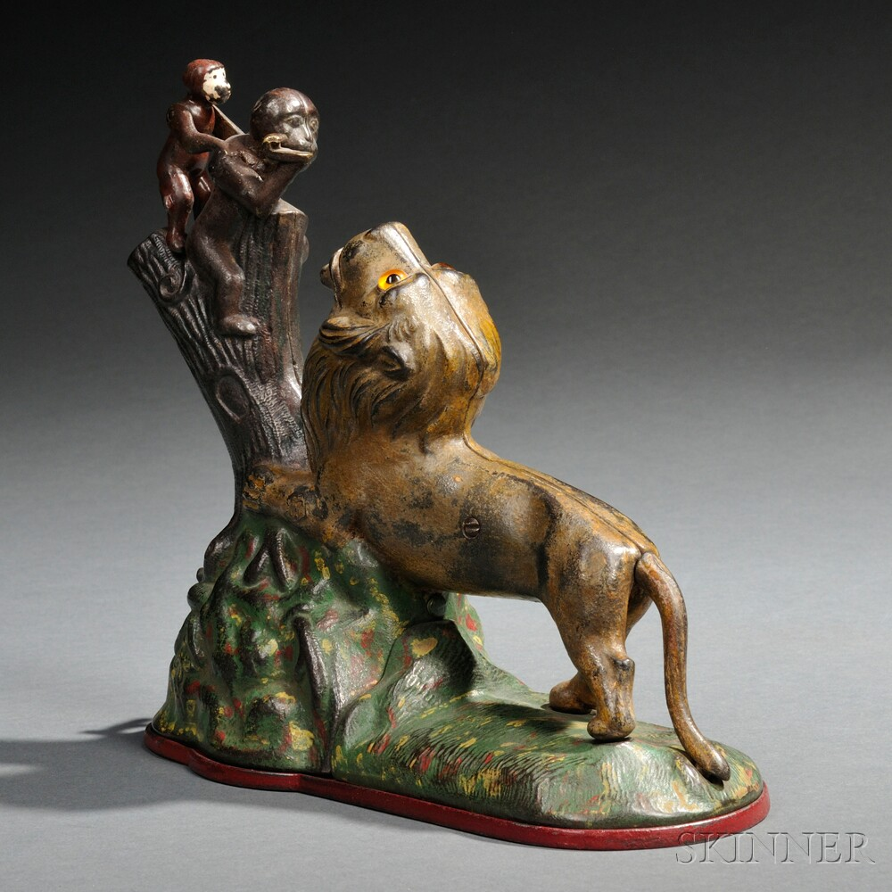 "Painted Cast Iron Mechanical ""Lion and Two Monkeys"" Bank"