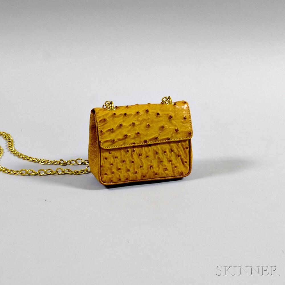 Rudolph Krell Tan Ostrich Leather Shoulder Bag