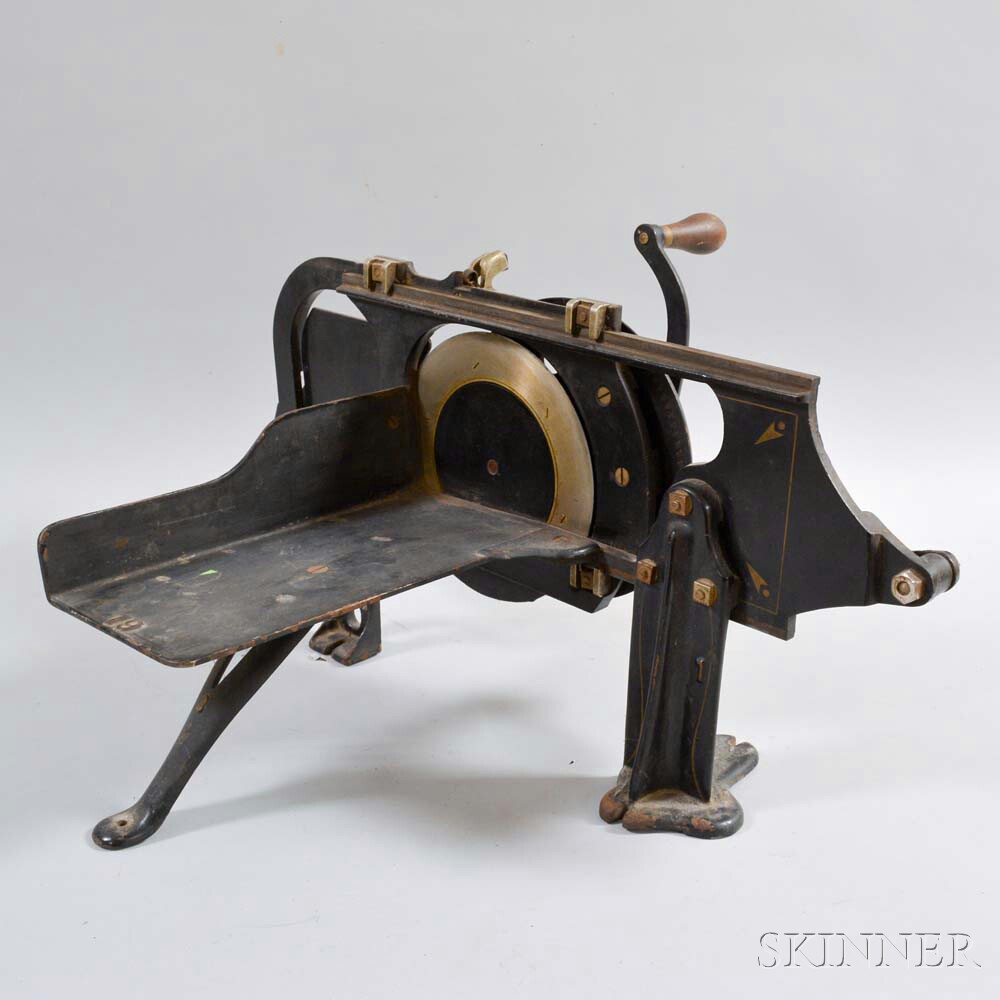 """N.R. Streeter & Co. Stenciled Cast Iron """"Bread and Beef Slicer,"""""""