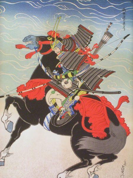 Two S. Hasegawa Japanese Woodblock Prints of Warriors on Horseback.