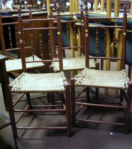 Set of Four 18th Century-style Turned Maple Side Chairs with Woven Splint Seats.