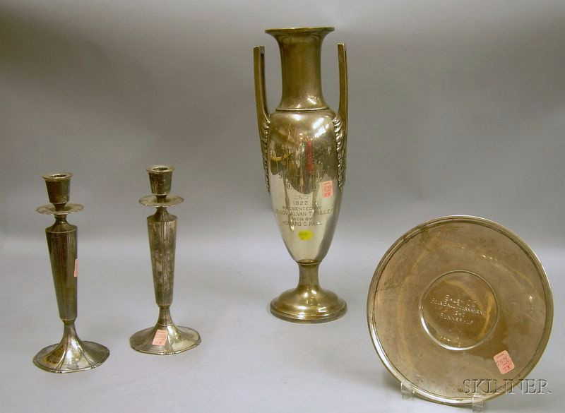 Dominick & Haff Sterling Silver Trophy, a Pair of Sterling Silver Presentation Candlesticks, and a Sterling Sil...