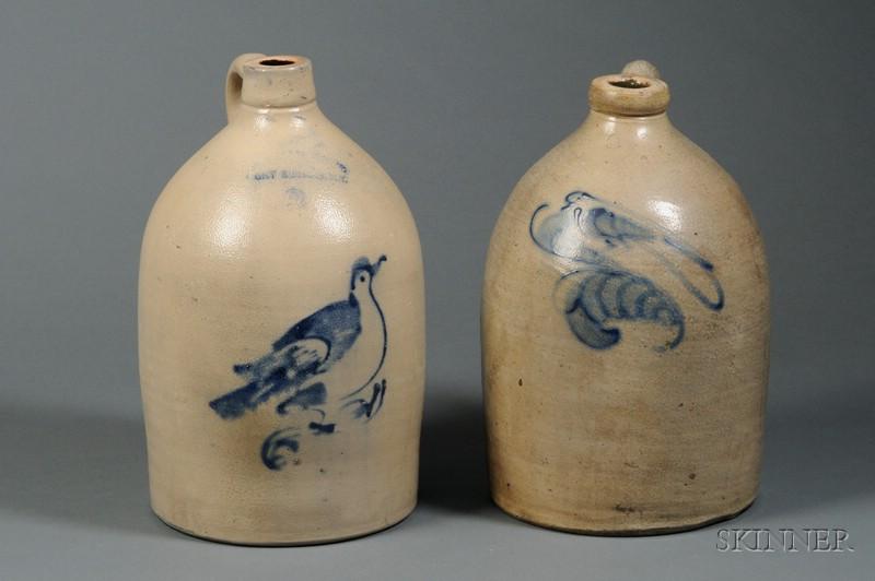 Two Bird-decorated Stoneware Jugs