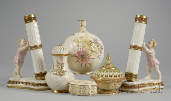 Six Royal Worcester Gilt and Hand-painted Porcelain Table Items