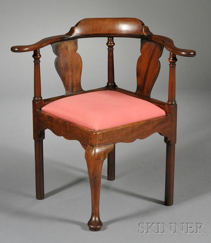 Queen Anne Mahogany Corner Chair