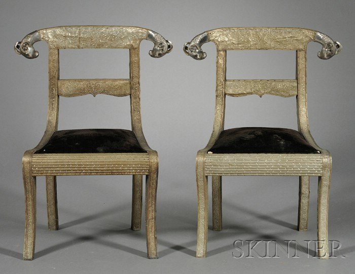 Pair of Anglo-Indian Regency-style Silvered Metal-mounted Side Chairs