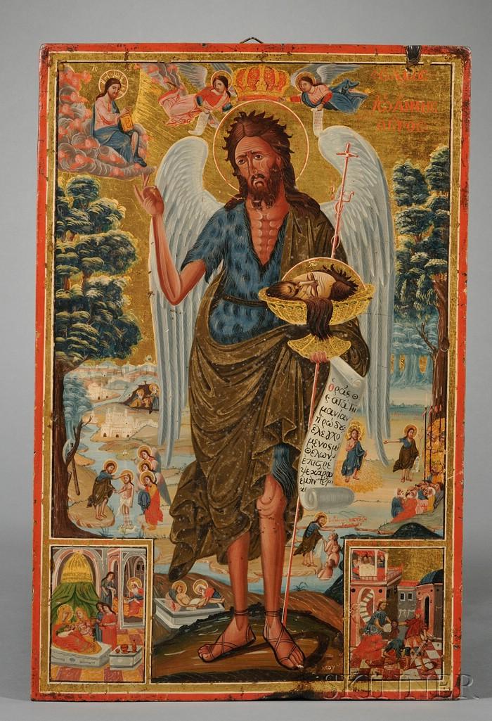 Greek Icon Depicting Saint John the Angel of the Desert