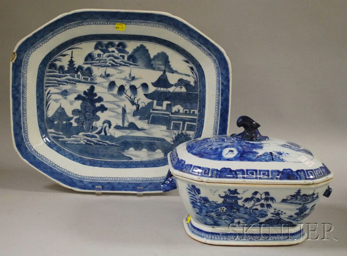 Blue and White Chinese Export Porcelain Platter and Covered Tureen