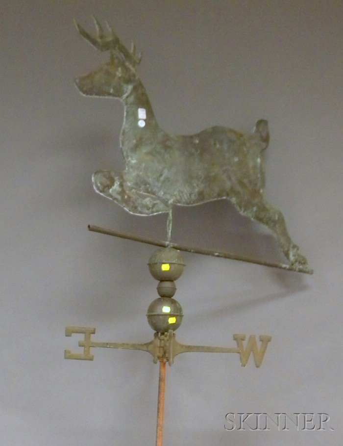 Molded Copper Leaping Stag Weather Vane