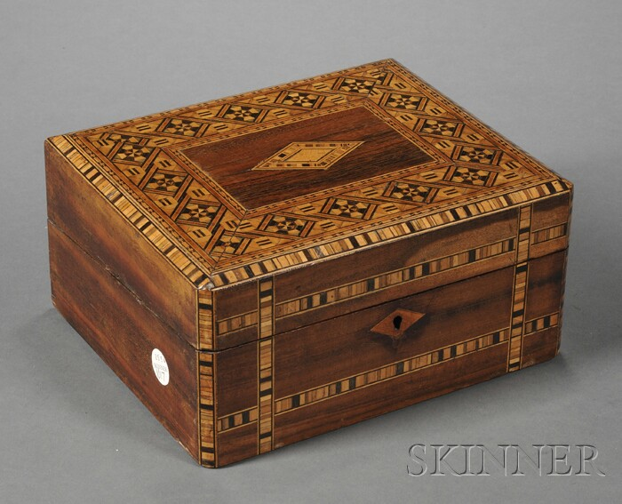 Small Victorian Rosewood and Parquetry Inlay Lap Desk