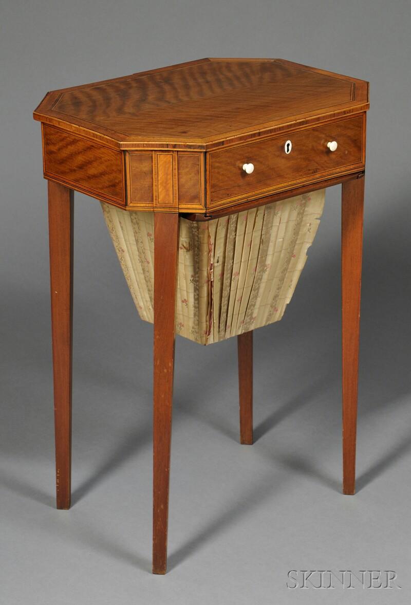 Georgian String-inlaid Mahogany Sewing Table