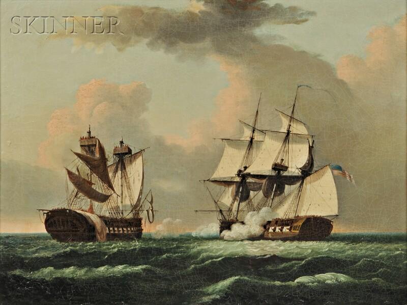 Thomas Birch (American, 1779-1851)    The U.S. Frigate United States   versus Macedonia   in the War of 1812.