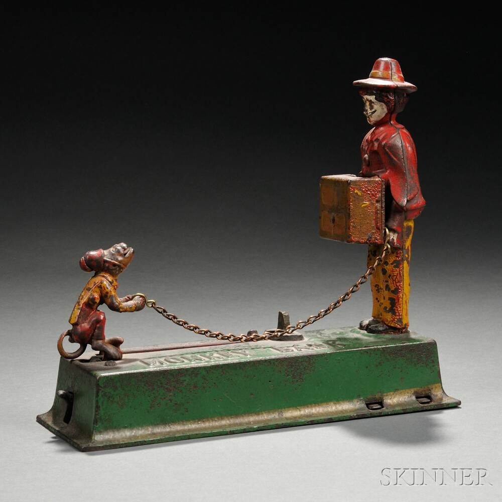 "Painted Cast Iron Mechanical ""Monkey Bank"" Bank"