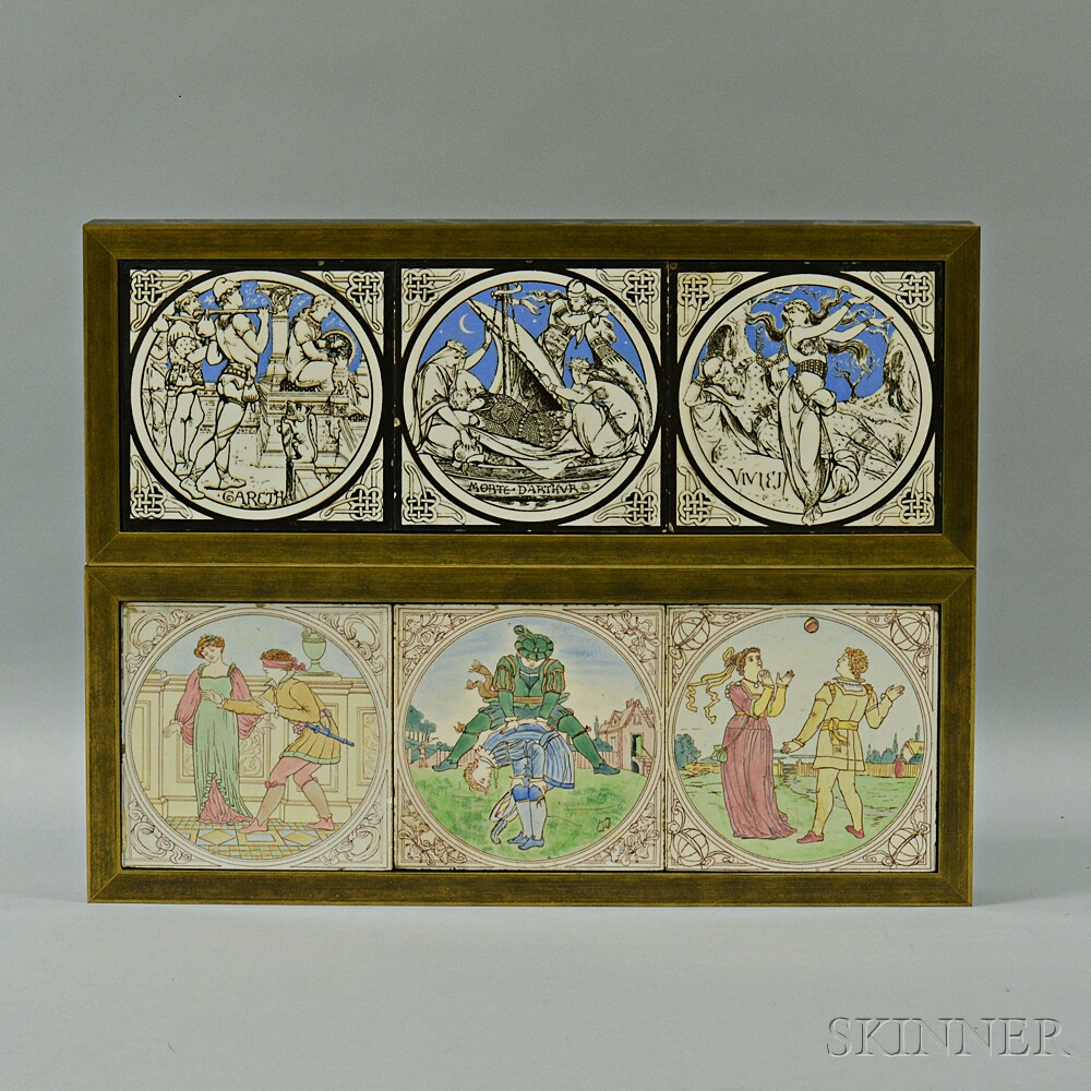 Two Framed Sets of Three Mintons Tiles Attributed to Walter Crane