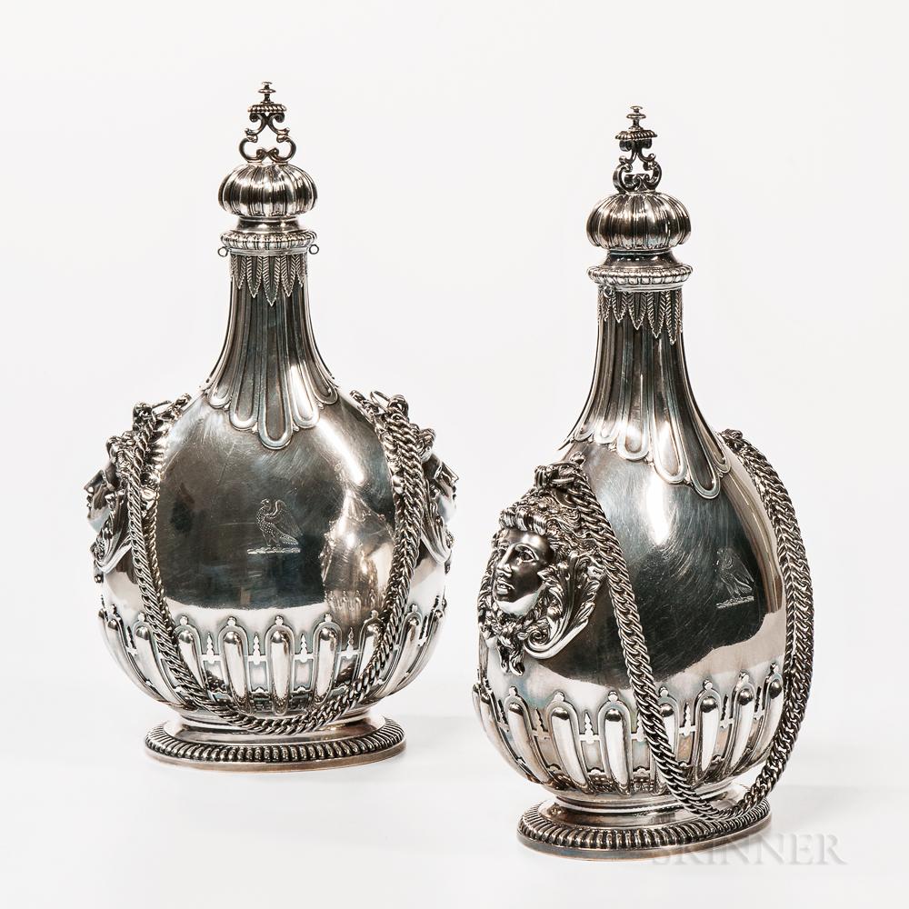 Pair of Victorian Britannia Standard Silver Pilgrim Flasks