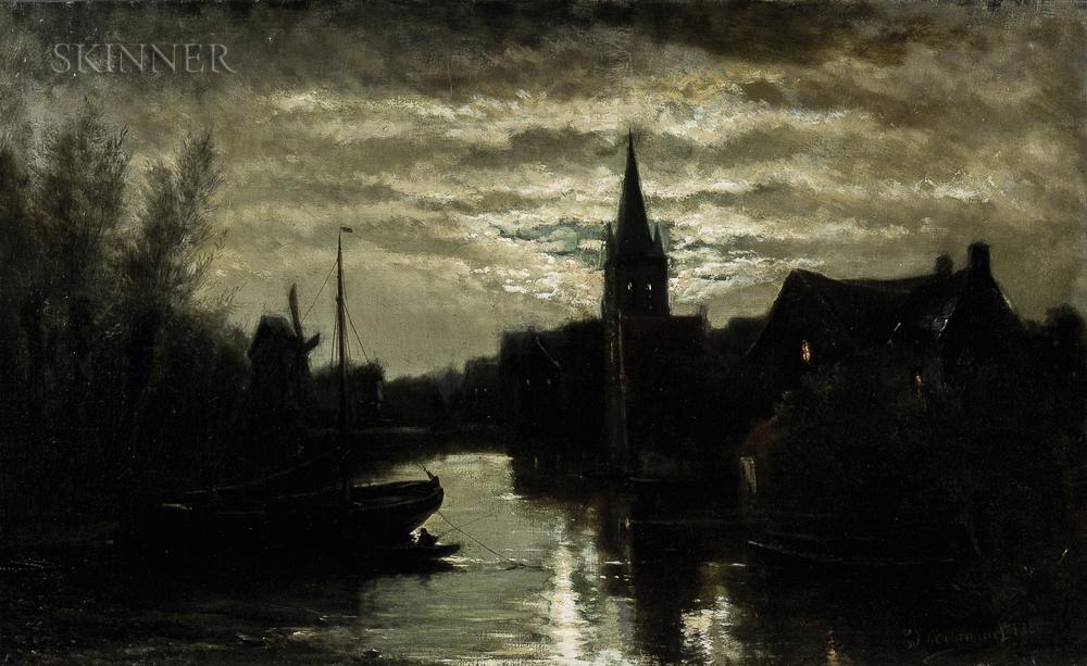 Edward Moerenhout (Belgian, 1801-1893)      Moonlit Canal