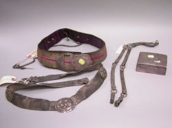 Three Silver Military and Other Belts and a Sterling Cigarette Box.