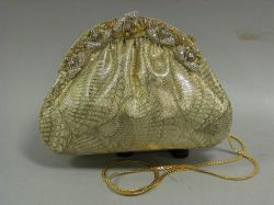 Jeweled Gilt Peacock Feather Pattern Cloth Purse.