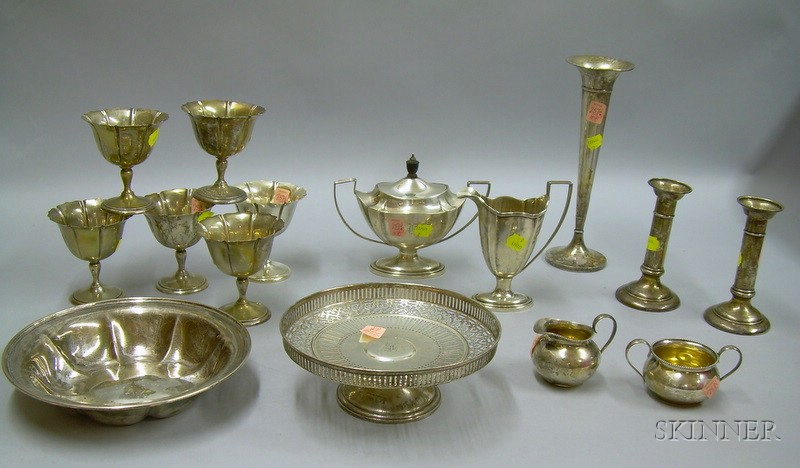 Fifteen Assorted Sterling Silver Table Items