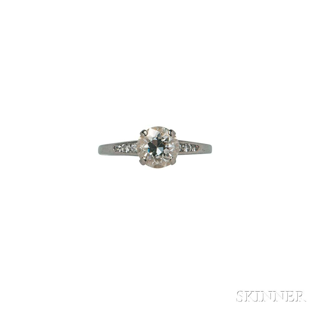 18kt White Gold and Diamond Solitaire Ring, Shreve, Crump & Low