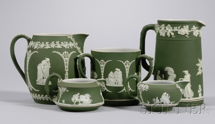 Five Wedgwood Olive Green Jasper Dip Items
