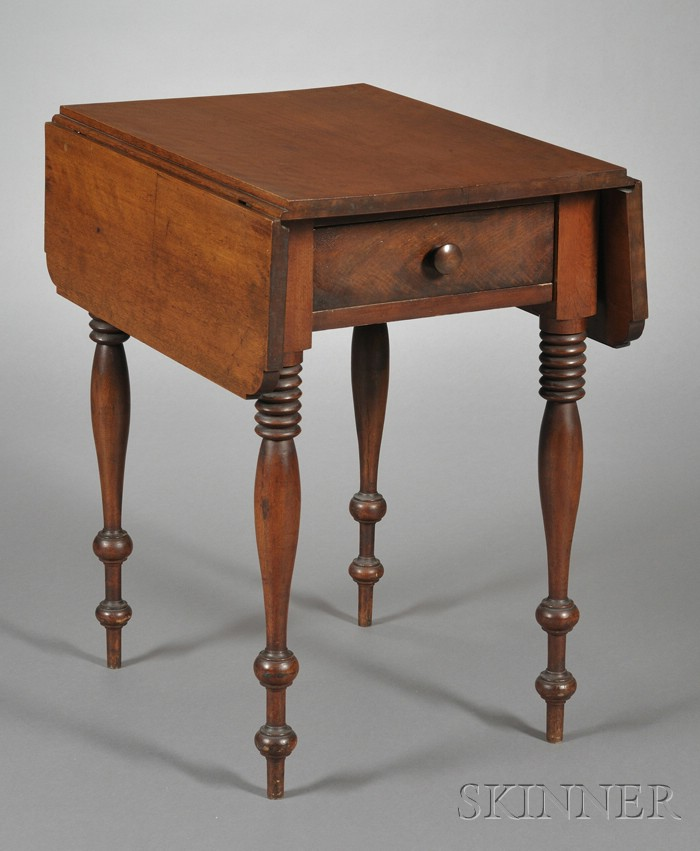 Classical Birch and Mahogany Veneer Drop-leaf One-drawer Stand with Turned Legs