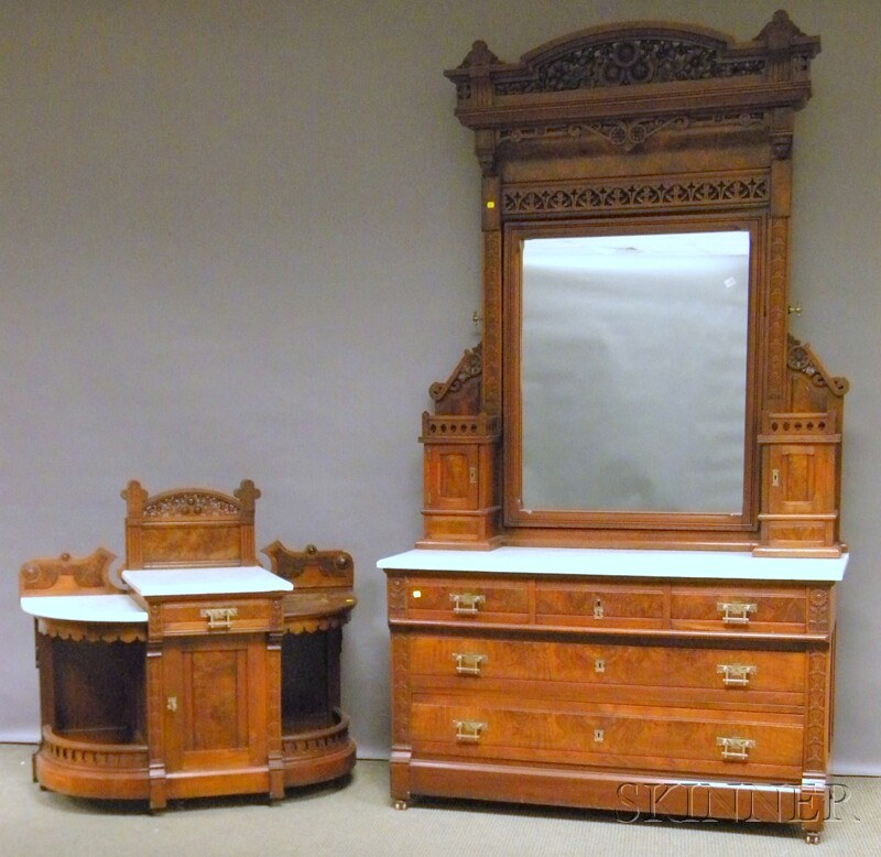 Three-piece Victorian Aesthetic Movement Marble-top Carved