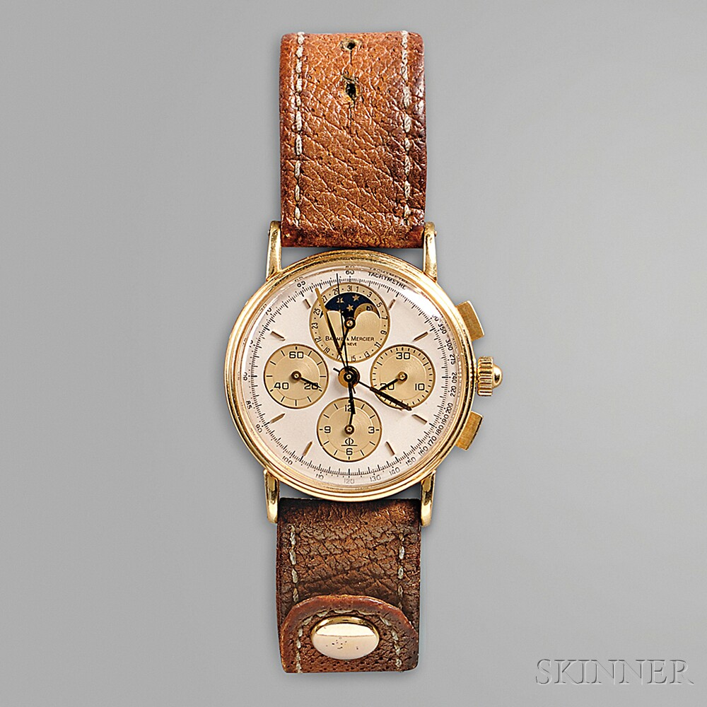 18kt Gold Baume & Mercier Date Calendar Moonphase Chronograph Watch