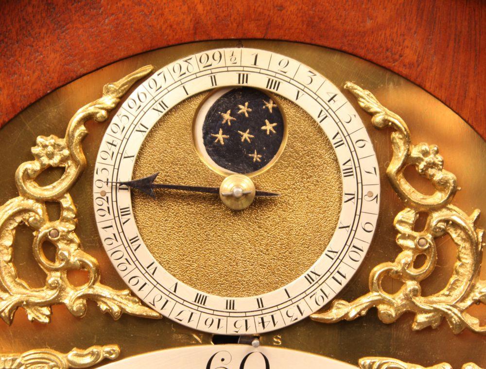 Thomas Wright Mahogany Bracket Clock with Penny Moon