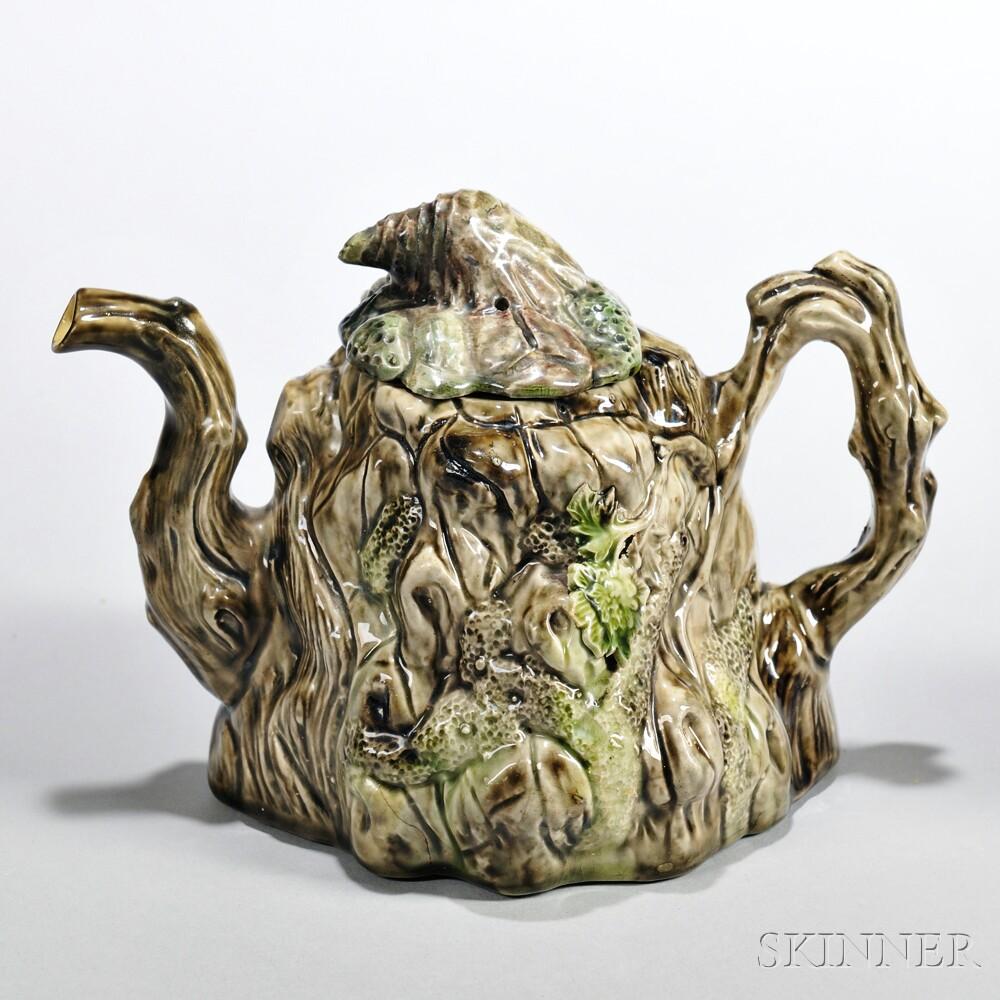 Lead-glazed Tree Bole Teapot and Cover