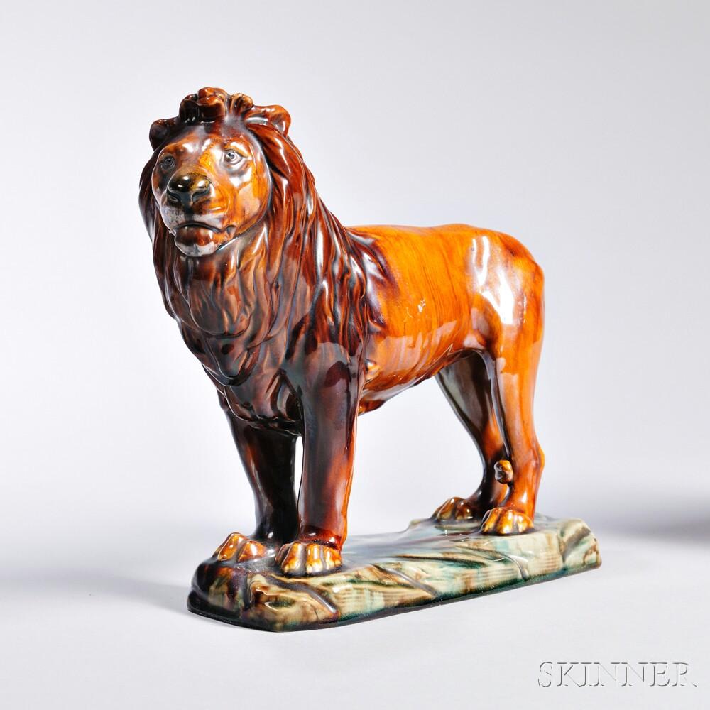 Mintons Glazed Earthenware Model of a Lion
