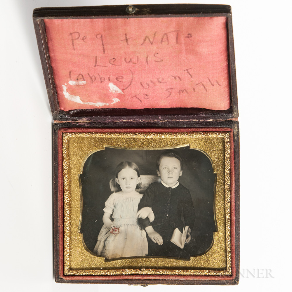 Sixth-plate Tinted Daguerreotype of a Seated Brother and Sister