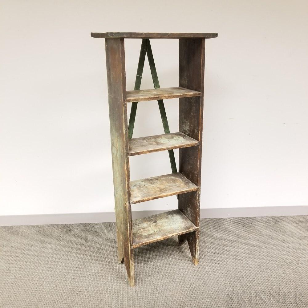 Green/Blue-painted Pine Four-tier Book Shelf
