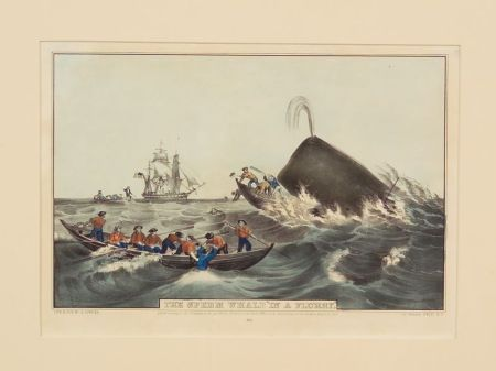 """Nathaniel Currier, publisher (American, 1813-1888)    The Sperm Whale """"In a Flurry.,"""""""