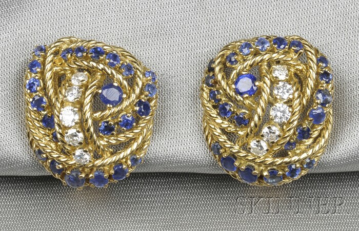 18kt Gold, Sapphire, and Diamond Knot Earclips, Tiffany & Co.
