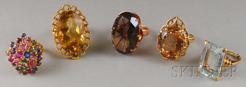 Five Gold and Gemstone Cocktail Rings
