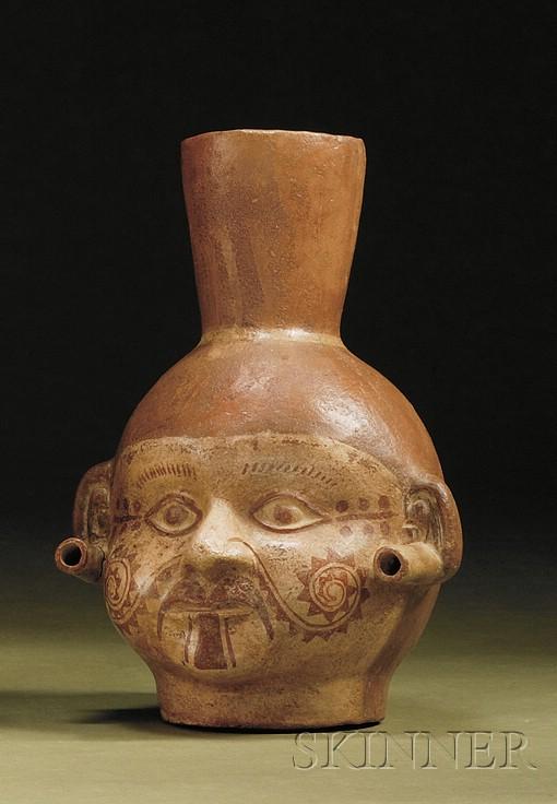 Pre-Columbian Painted Pottery Portrait Head Vessel