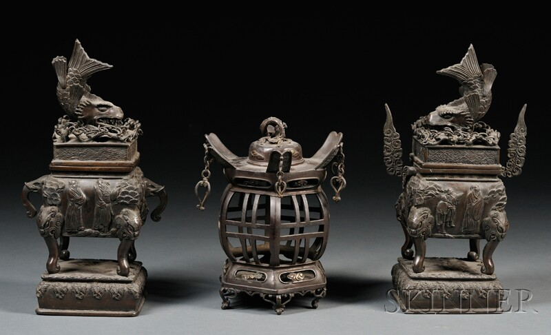 Pair of Iron Censers with an Iron Lantern