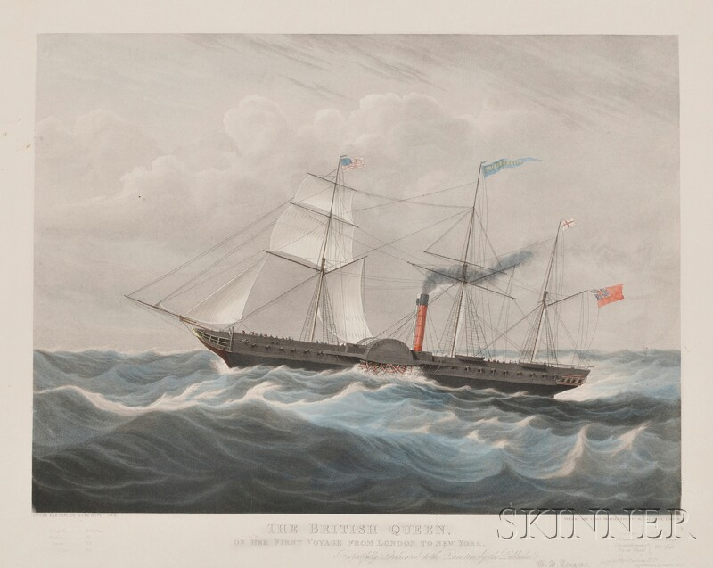 Colored Aquatint of the S.S. British Queen