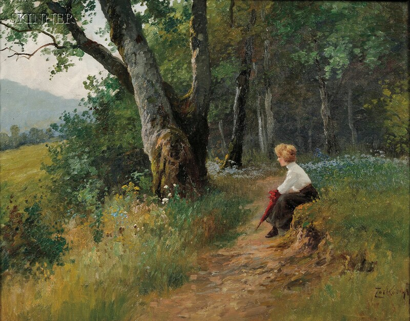 Gyula Zorkoczy (Hungarian, 1873-1932)      Rest on a Walk in the Woods