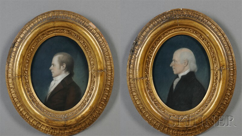 James Sharples (British/American, 1752-1811)      Pair of Portraits of Dr. Reuben Smith and His Son Elihu Smith.